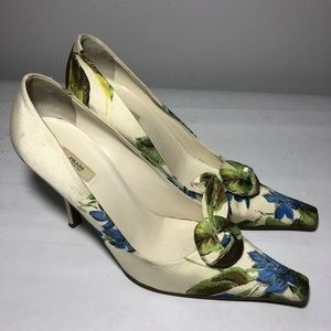 Prada Square Toe Heels Blue Green Floral Silk